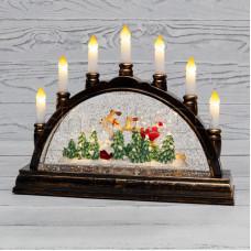 Декоративный светильник «Подсвечник» с эффектом снегопада NEON-NIGHT